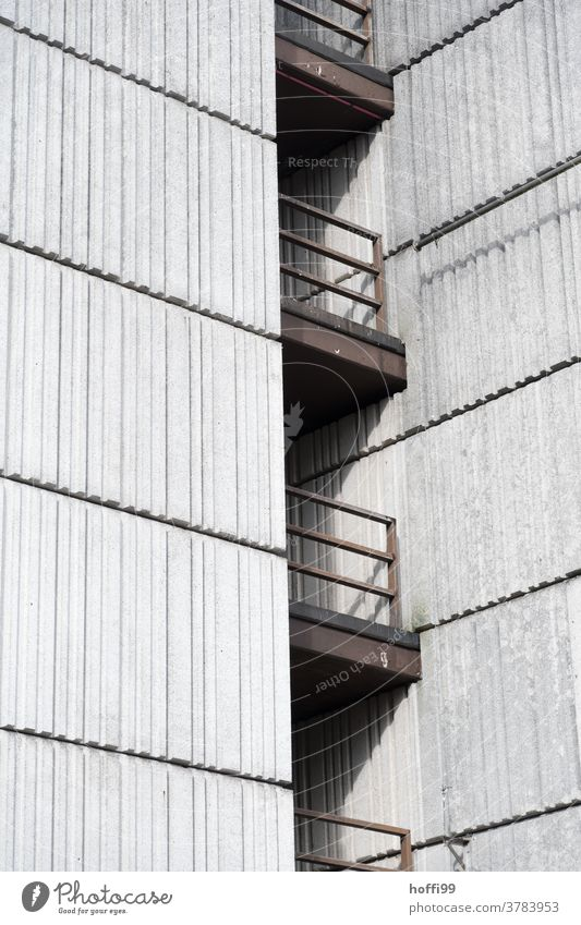 massive, heavy external railings on a concrete facade - exposed concrete in brutalism Steel Concrete Architecture Gray Wall (building) Wall (barrier) Facade