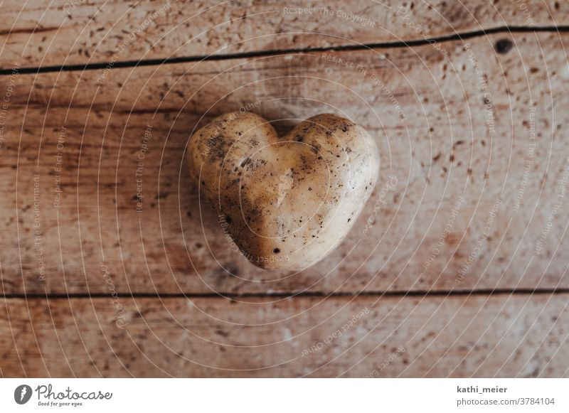 Heart of potato - on wood Vegetable Healthy Eating Vegetarian diet Food Organic produce Vegan diet Food photograph Organic farming Heart-shaped Love boil