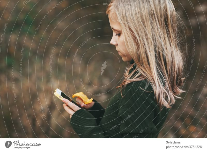 Blonde teenage girl stands with the phone and writes a message in the park outdoors. young smart child boredom blonde use beautiful autumn attractive lifestyle