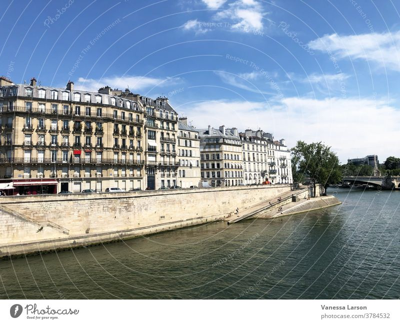 Buildings and Seine River in Paris, France Exterior shot Vacation & Travel Europe Architecture Sightseeing Day