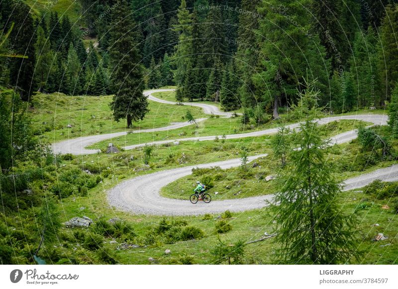 Downhill, also downhill. From now on it was downhill. mountain bike Sky Colour photo Cycling Exterior shot Leisure and hobbies Street Bicycle Sports Fitness