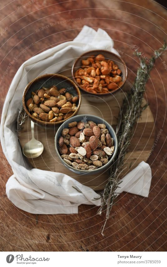 bowls of nuts with spices Eco-friendly Environment Interior shot protein healthy eating abundance close up vegan healthy lifestyle indoor nourishment tasty