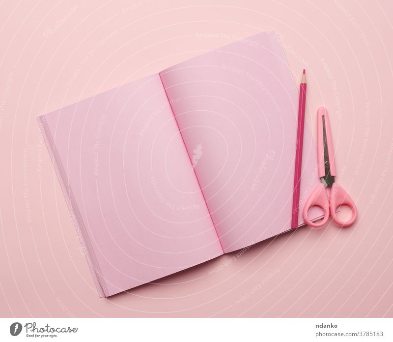 open notebook with blank pink pages on a pink background notepaper above clean concept design diary education empty flat goal lay list memo mockup notepad