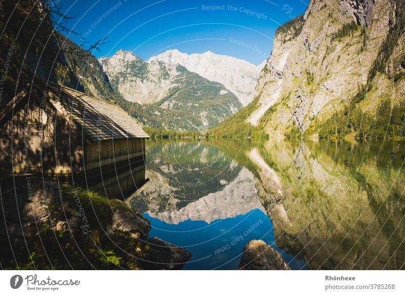 Beautiful play of the mountains in the Obersee at Königssee Lake Water Nature Landscape Deserted Environment Mountain Colour photo Exterior shot