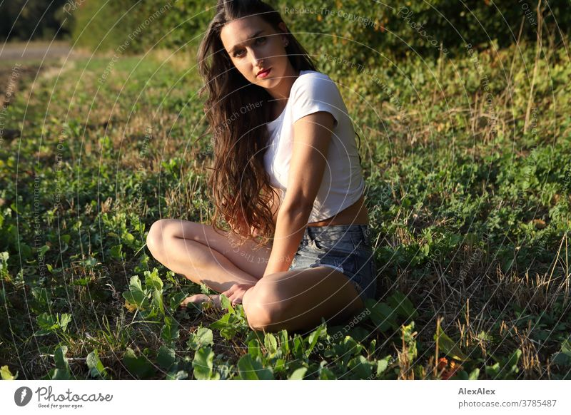 Portrait of a young woman sitting at the edge of a field in front of a forest portrait Woman pretty Near fit daintily Skin Face look Direct Long-haired Slim