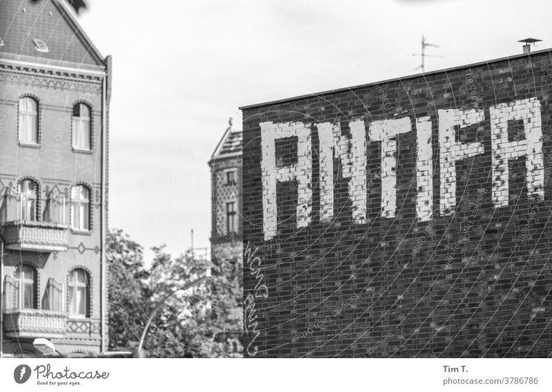 Graffiti Berlin Antifa Wedding b/w antifa Black & white photo B&W B/W Calm Loneliness Architecture Window Town Old town