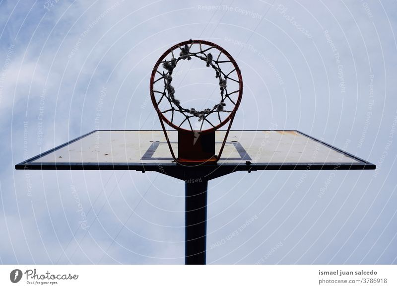 basketball hoop and blue sky, street basket in Bilbao city Spain sport Sports equipment streetphotography Silhouette bilbao spain Exterior shot Playing