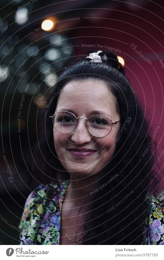 WOMAN - GLASSES - BEAUTIFUL 25-29 years old Woman youthful Hip & trendy Brunette Eyeglasses pretty Esthetic Adults clearer Grinning laugh with a smile timid