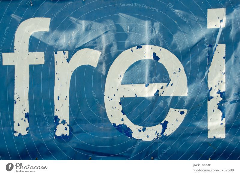 simply free Free Word Typography Freedom Communication transparent Signs and labeling Visual spectacle Weathered Ravages of time Blue White Characters Flake off