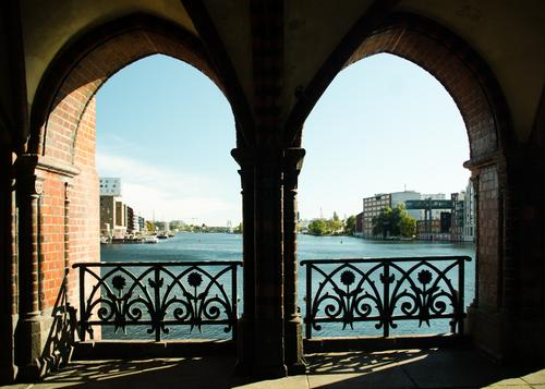 A pleasing view of the Spree Panorama (View) Architecture Silhouette Tourist Attraction River Bridge Friedrichshain-Kreuzberg cityscape Historic clinker