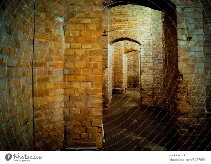 between old walls just straight ahead Manmade structures Architecture Room Brick Historic Vault Structures and shapes Corridor Masonry Subsoil Old Weathered