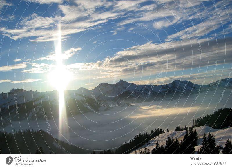 sundown Clouds Lightning Mountain Sun