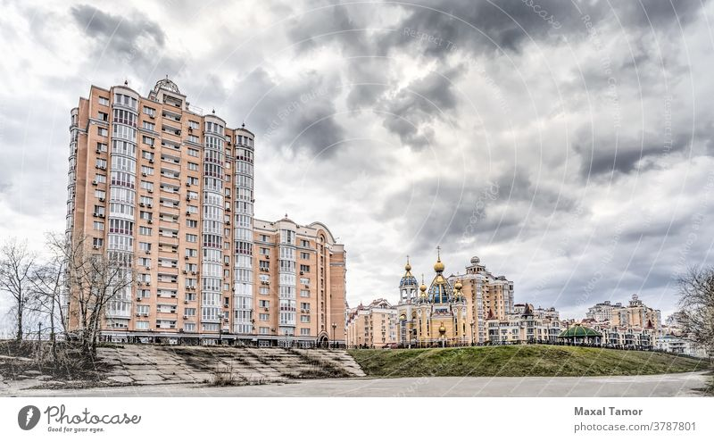 Buildings in the Obolon District of Kiev Birth of Christ Birth of Christ Church Kyiv Obolon district Ukraine architectural architecture autumn building car