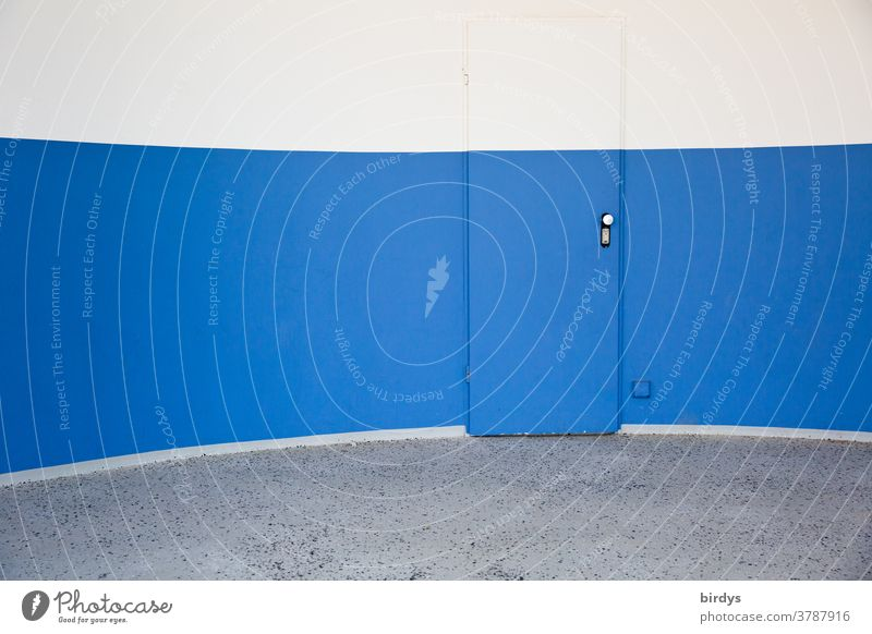 Inconspicuous door in vaulted wall painted with the same wall colours Wall (building) convex Round inconspicuous Colour segments Exceptional Blue White Gray