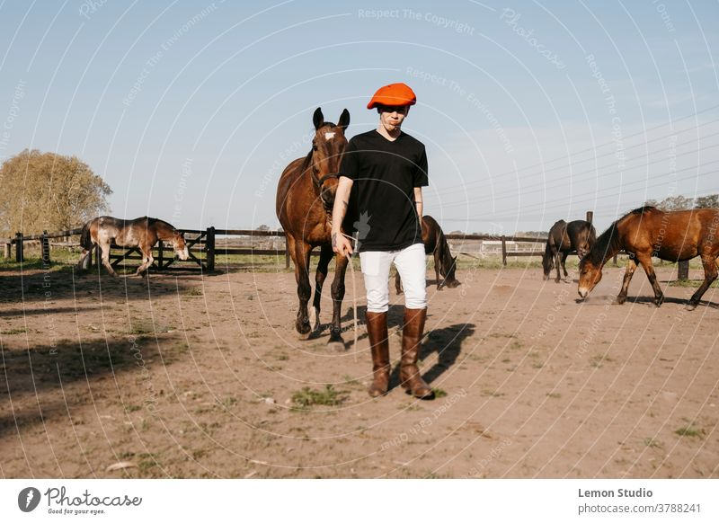 Man walking carrying horse to the stable man brown free air field grass green sky blue trees patagonia spring riding day animal three horses following