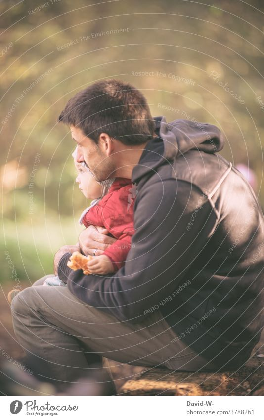 Father holds his son in his arms and shows him the world Child dad Love Attachment Together proximity Safety (feeling of) Family Son people Happy Autumn Nature