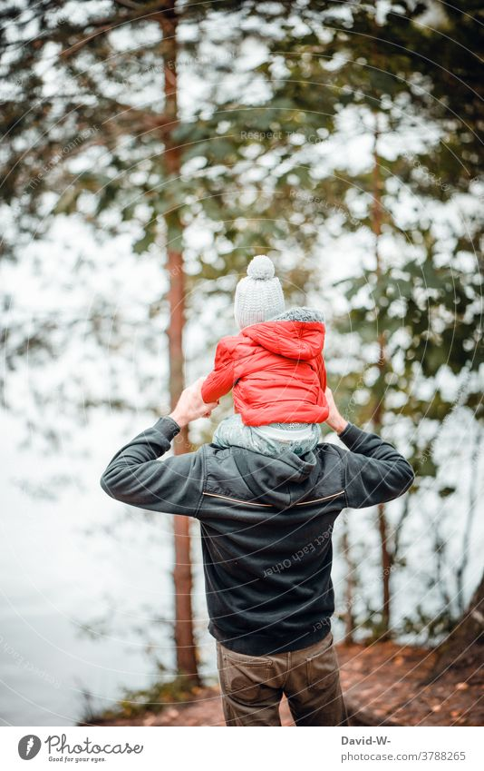 Father shows child the world dad Child Love Son Shoulders Carrying Cute Indicate Parents Together in common Life Autumn Autumnal Forest Hiking
