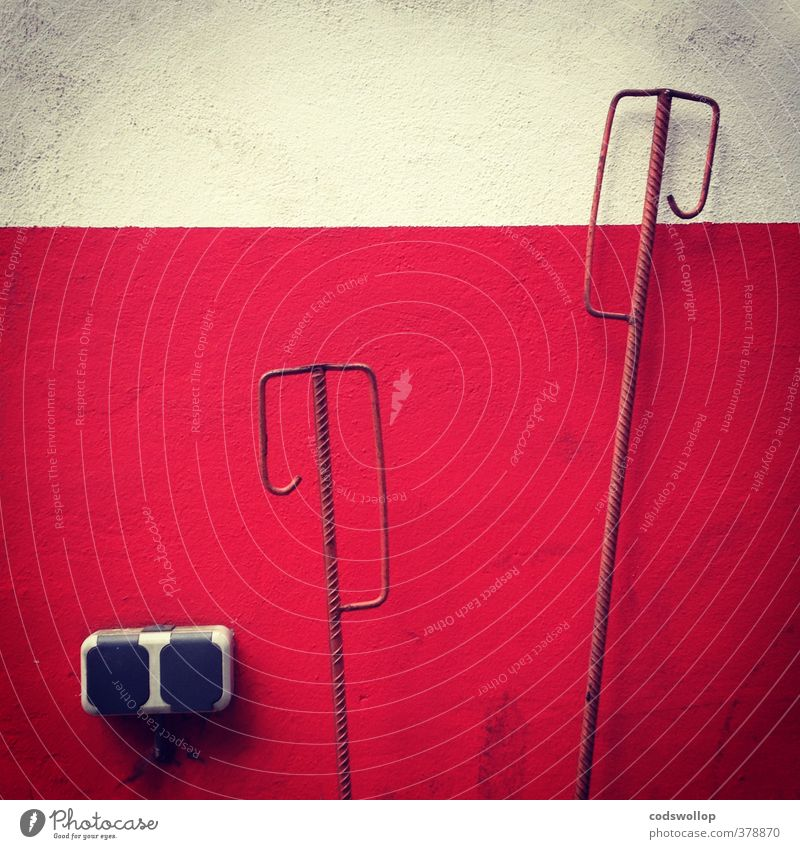 ciment et acier Industry Wall (barrier) Wall (building) Facade Concrete Steel Gloomy Town Red White Socket bar steel Rod Colour photo Subdued colour