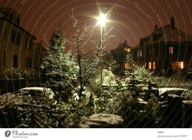 Neighborhood Winter Night Light House (Residential Structure) Europe Canton Bern Snow fresh cold Houses