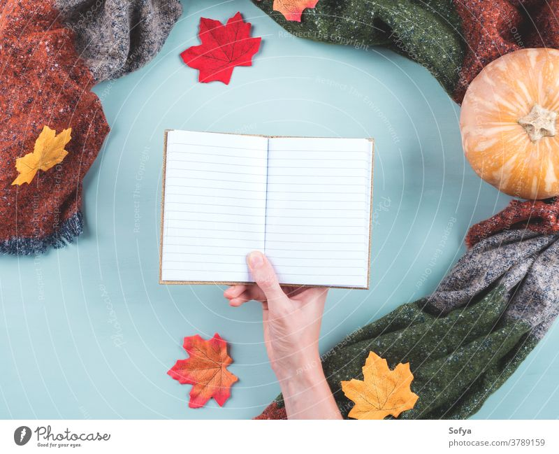 Empty notebook in female hand in scarf frame fall autumn holding diary blank empty page planner notepad open write journal pumpkin cozy thanksgiving halloween