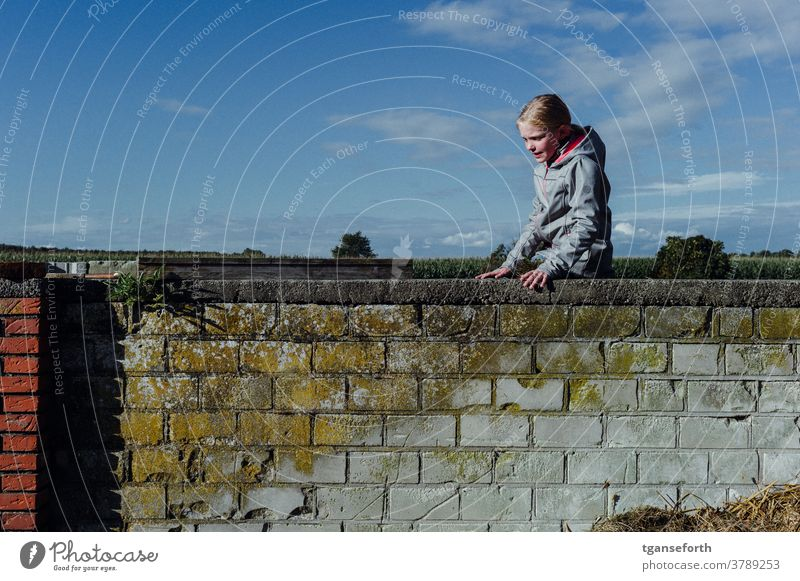 On the wall Child Infancy Effortless Playful climbing Girl Joy Exterior shot Colour photo Human being Playing Cheerful portrait Wall (barrier) masonry