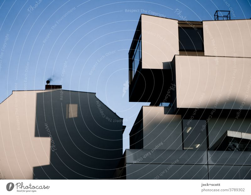 House of Packmann Shadow play morning light Architecture Facade Modern Illusion Fantasy Silhouette Structures and shapes Style Surrealism Sunlight Pacman