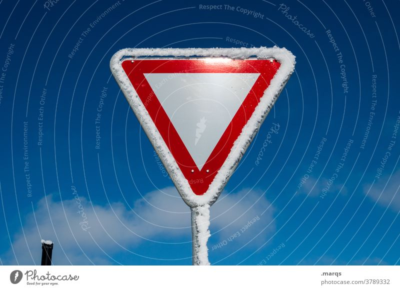 Give way Pay attention to right of way Road sign Safety Road traffic StVO Sky Beautiful weather Snow Ice Winter Cold Signs and labeling