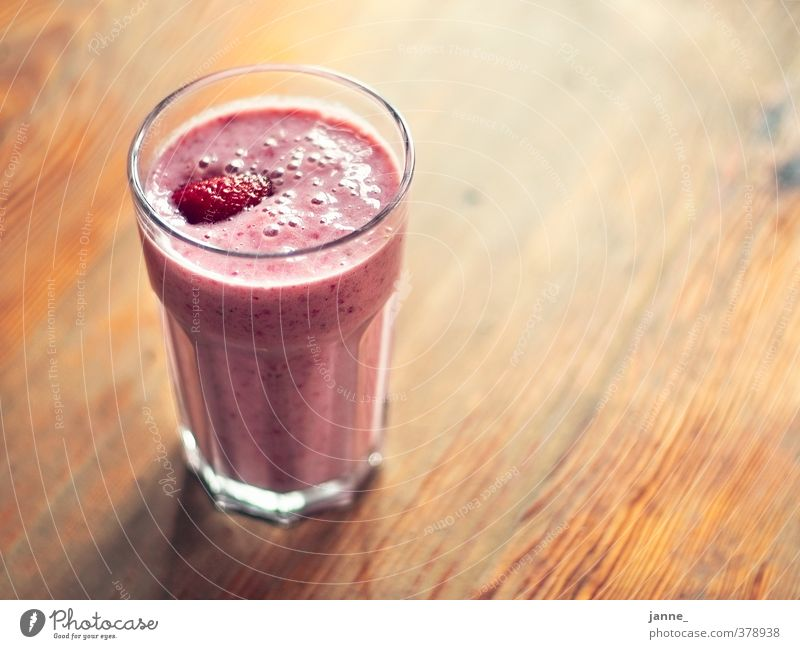 strawberry shake Food Fruit Beverage Glass Interior design Furniture Table Fresh Healthy Delicious Natural Brown Pink Strawberry Milkshake Colour photo