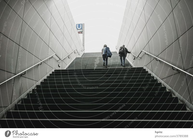 Stairs to the light Architecture Concrete Gray Manmade structures Architecture and buildings Light Underground burdensome