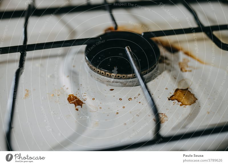 Dirty stove Stove & Oven Clean Gas stove Cooking Warmth Kitchen Hot Pot Colour photo Cleanliness Cleaning dirty background Metal Close-up Living or residing