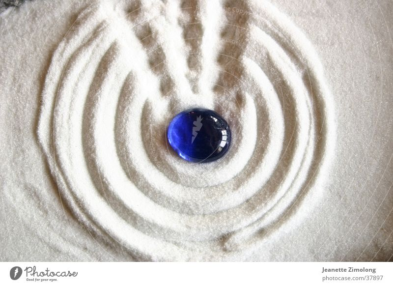 Zen garden White Macro (Extreme close-up) Close-up Sand Stone Blue Structures and shapes
