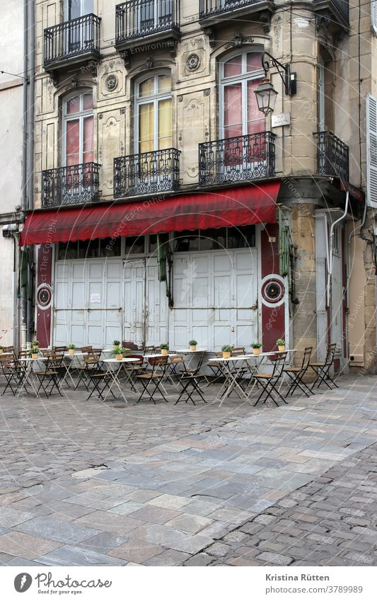 terrace of not yet opened café Terrace tables chairs Café Restaurant brasserie Bistro Bar Gastronomy out outside gastronomy Town urban Street Places
