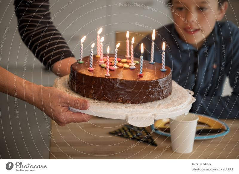 Children's birthday with birthday cake Gateau Cake Birthday cake Baked goods Delicious Feasts & Celebrations cute Interior shot Party stop Hand candles