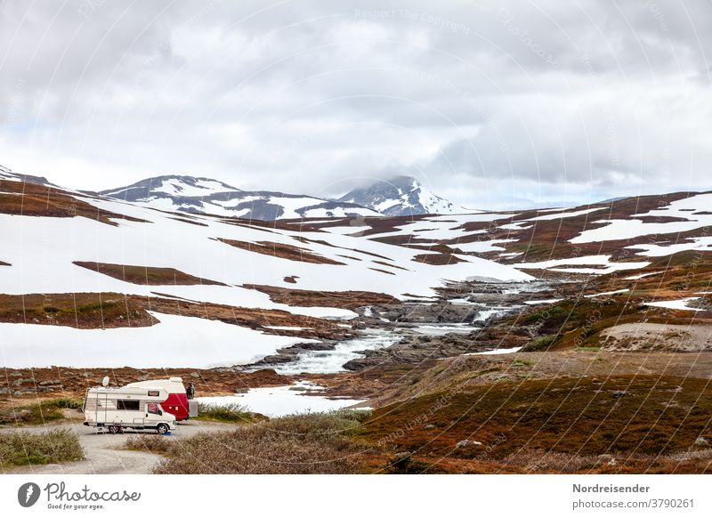 Two motorhomes in the high mountains of Marsfjell in Sweden Mobile home Camping Camping site Snow Ice Frost River Water Winter winter camping caravan Camper