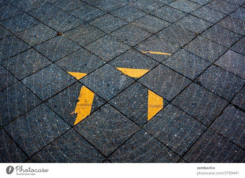 Sidewalk with mysterious adhesive strips Turn off Asphalt Corner Lane markings Bicycle Cycle path Clue edge Line Left navi Navigation Orientation cycle path