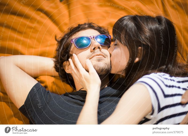 Human being Woman Man Youth (Young adults) Beautiful Summer Adults Love Life 18 - 30 years Feminine Happy Couple Lie Together Masculine