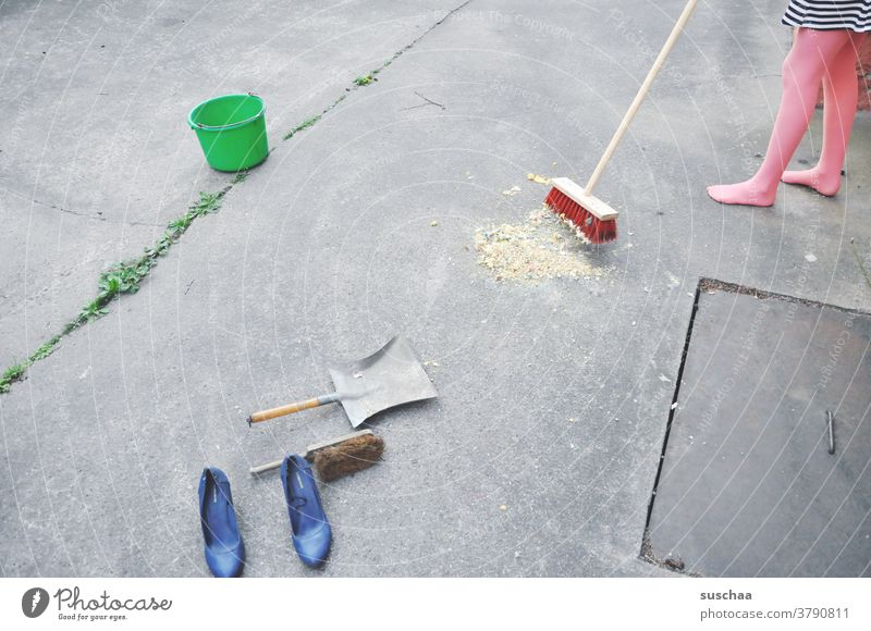 sweep week sweeping week Broom shovel shovel panel Sweep Alley Courtyard Asphalt Street Bucket Footwear High heels Legs feet feminine Girl Youth (Young adults)