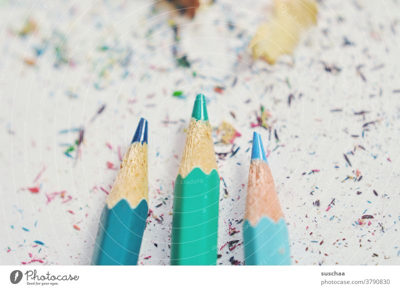 3 not quite finished sharpened crayons Crayon Blue Green peak Pointed spaene Wood Paper Draw Pen Creativity Dirty Artist Leisure and hobbies Stationery