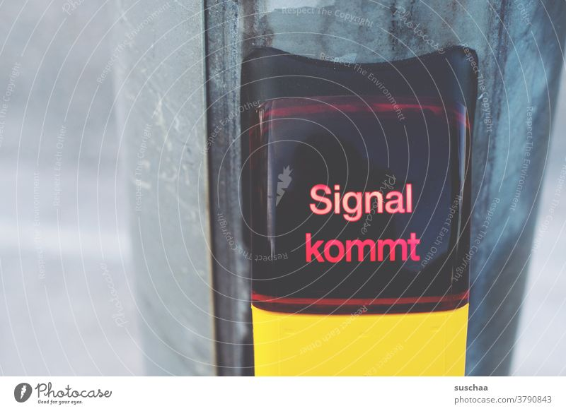 Signal coming Letters (alphabet) Word Crossroads yellow box signal mast Road traffic Traffic infrastructure Urban transport Town Wait red traffic light