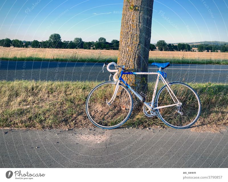 bike tour Racing cycle White Blue Ajar Street Field Break Transport Autumn Wheel Cycling Bicycle Vintage car 80s 1970s stop Tree Lean rest Retro Trip vintage