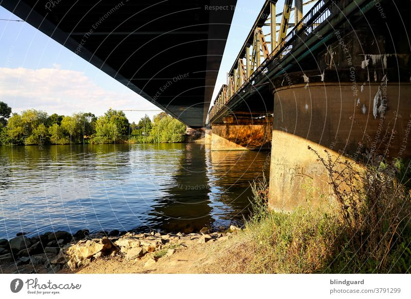 Bridges over calm water. Colour photo Exterior shot Town River Deserted Day Architecture Water Manmade structures Steinheim bridge Railway bridge Track