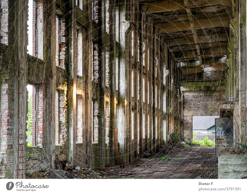 Old factory ruin in Peenemünde on the island of Usedom Baltic Sea Factory Ruin Colour photo Architecture Manmade structures Building Facade Decline