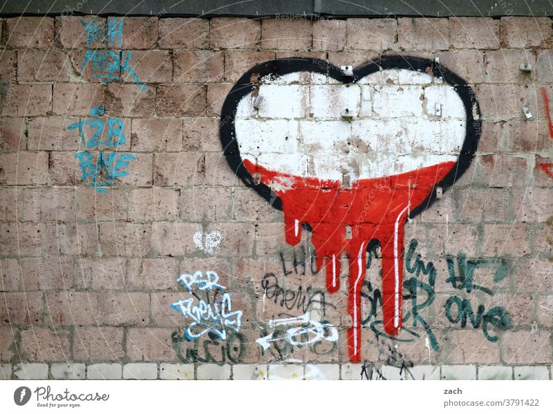 Lost Love Declaration of love Romance Heart-shaped Sign Wall (building) Facade Graffiti Wall (barrier) Building Berlin street art Red White Flow Brick brick