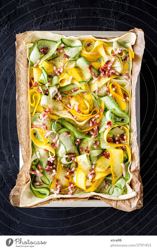 Courgette quiche Zucchini Bacon Vegetable Quiche vegetable quiche Baking Tin Baking tray Courgette Strips baking paper Eating Cooking homemade food Dinner Food