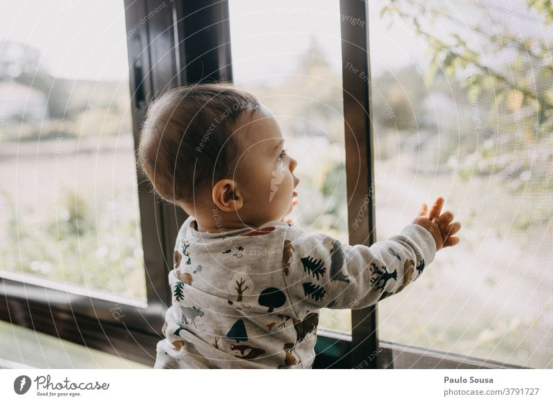 Toddler at the window Window indoor Family & Relations Baby Child Love Home Joy Happy Parents Together Cute Curiosity Innocent Interior shot Caucasian Infancy