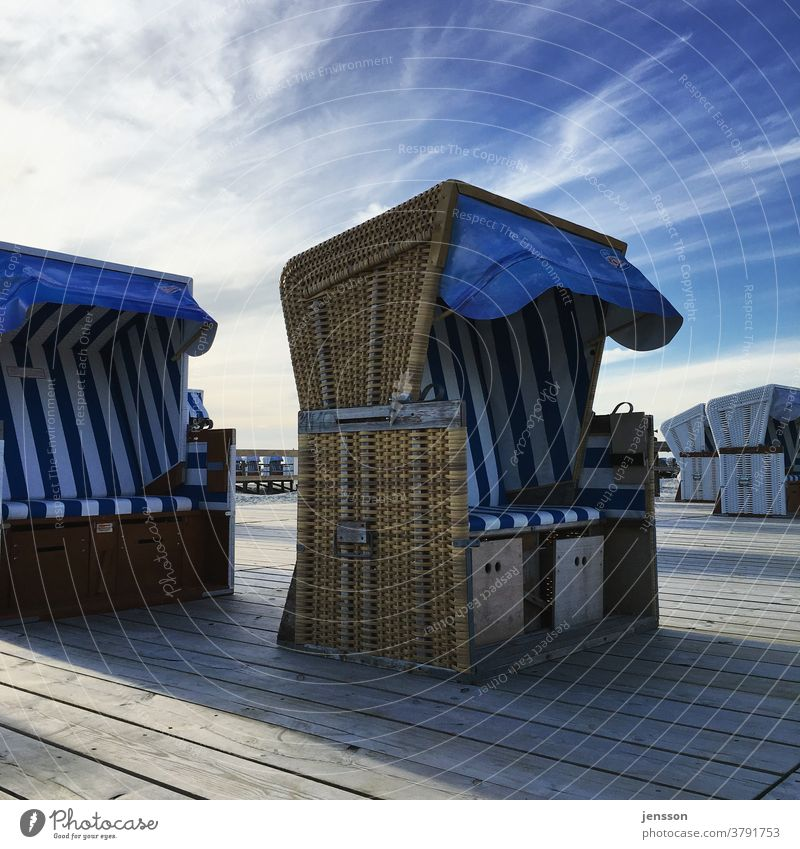 Beach chairs in St. Peter-Ording North Sea North Frisland Schleswig-Holstein Tourism coast Exterior shot Copy Space top Vacation & Travel Deserted Relaxation