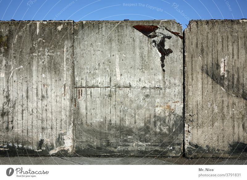 An aging concrete wall against a blue sky Wall (barrier) Concrete wall Wall (building) Gray Sky Blue sky Gloomy Old Dirty Terminus End bleak Reunification