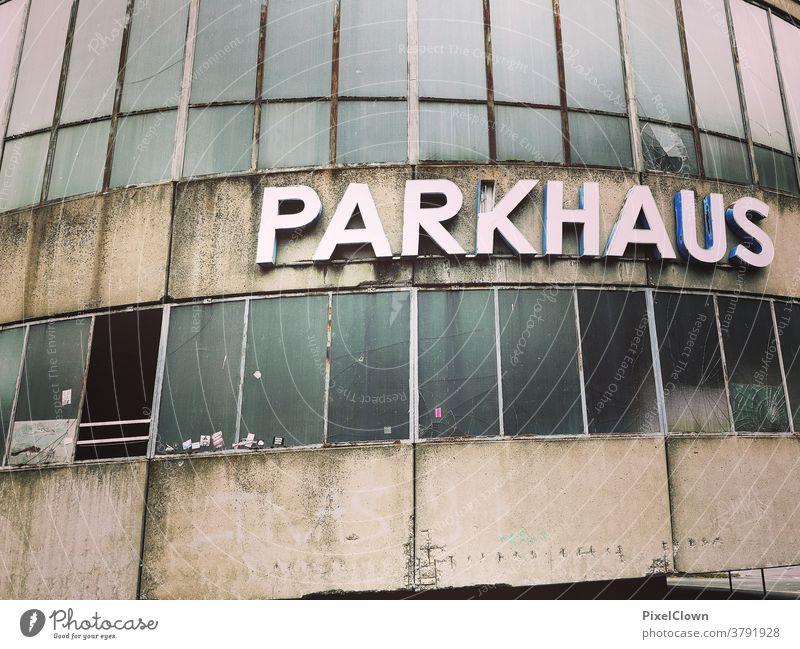 Parking garage in bad condition Underground garage Deserted Architecture Colour photo Garage Concrete Parking lot Asphalt Parking level Traffic infrastructure