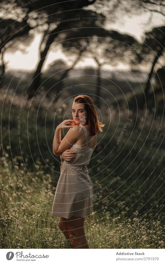 Slim woman standing in summer park dress lawn peaceful relax meadow calm sunlight female iceland serene enjoy green young tranquil field idyllic style trendy