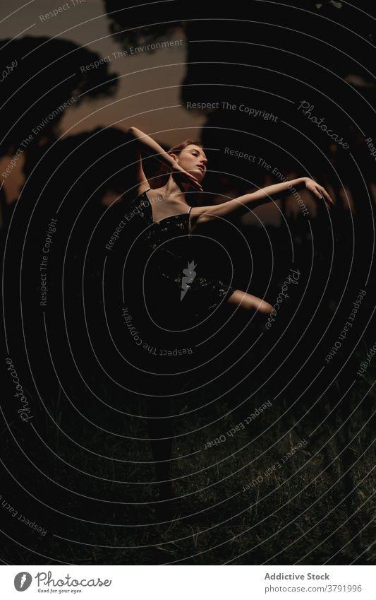 Graceful woman dancing in dark park ballet ballerina dancer meadow choreography grace flexible talent female iceland dress nature elegant balance artist classic